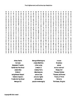 Enlightenment And The American Revolution Word Search For World