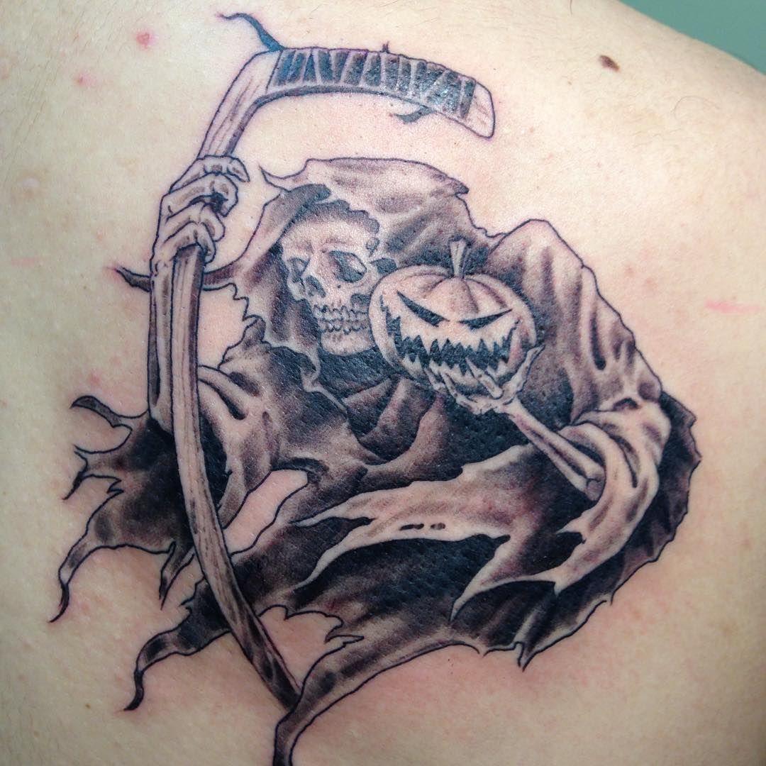 grim #reaper #pumpkin #hockey #tattoo #idea #mass #bridgwater