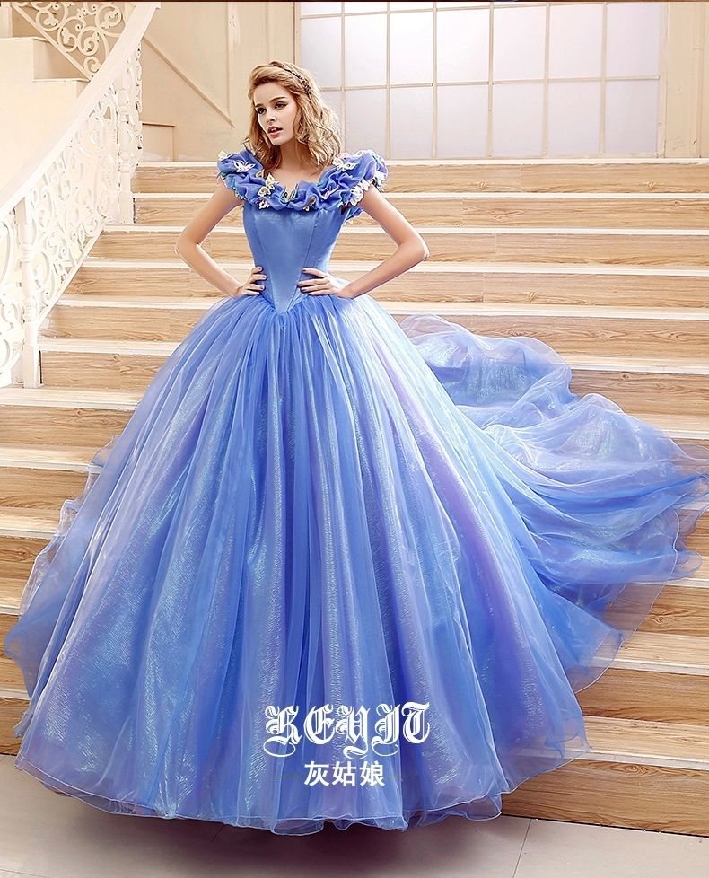 2015 Movie Cinderella Dress Cinderella Wedding Dress Blue   White Dress New  Cinderella Costume-in Clothing from Novelty   Special Use on Aliexpress.com  ... 52cd05533fc0