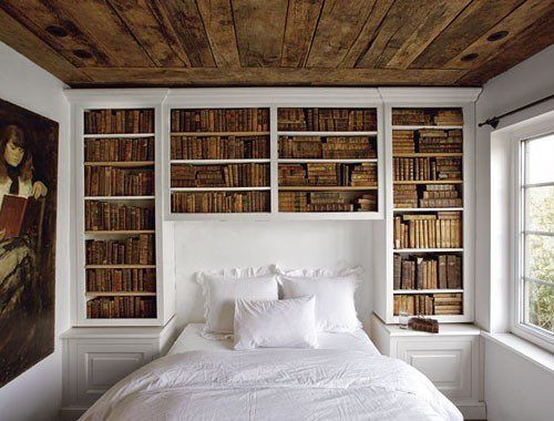 bookcase behind the headboard