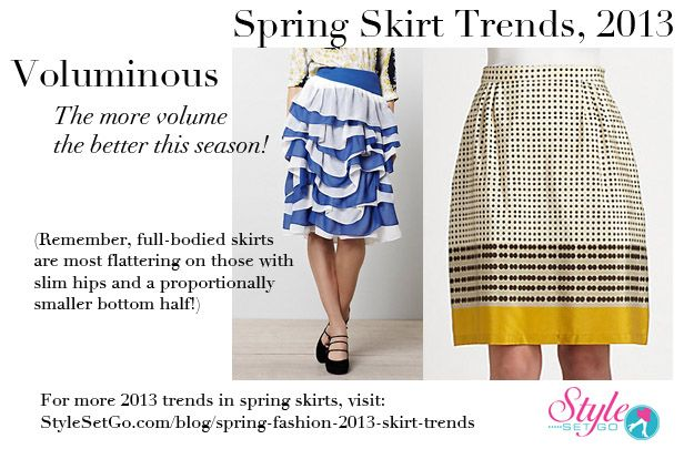 Skirts with volume are a hot trend this season. The more volume the better! For more Spring Skirt Trends, 2013 and info on the skirts pictured here, visit stylesetgo.com/blog/spring-fashion-2013-skirt-trends/  #SpringFashion #Fashion #Style