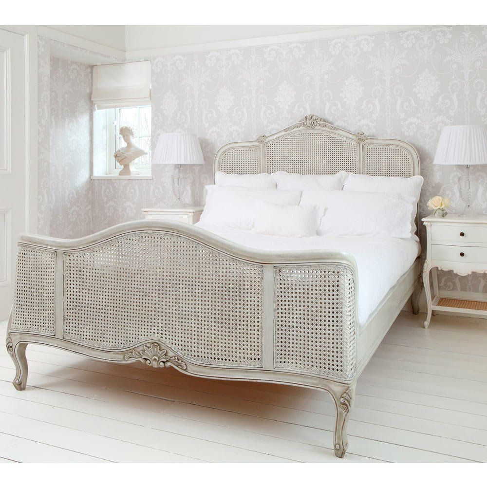 French Grey Painted Rattan Bed (King) | Vimini