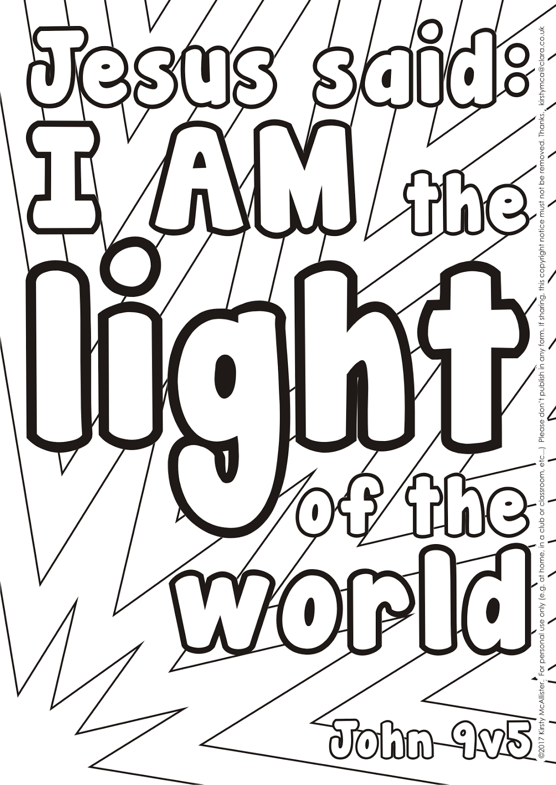 Jesus said I am the light of the world colouring picture ...