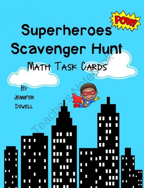 Superheroes Scavenger Hunt- Math Task Cards from LoveTeachingKids on ...