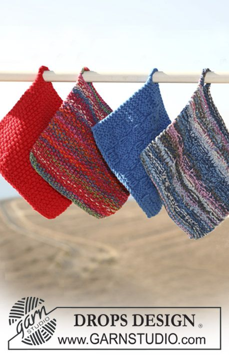 Drops Knitted Potholders In Double Thread Muskat Soft Or Paris Pair