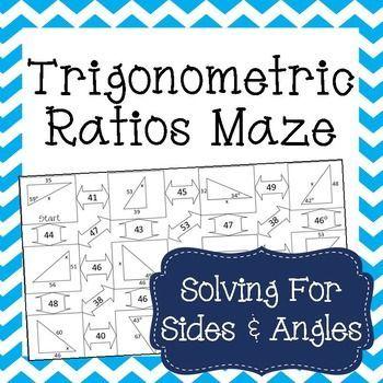 trigonometric ratios sine cosine tangent maze trigonometry maze and students. Black Bedroom Furniture Sets. Home Design Ideas