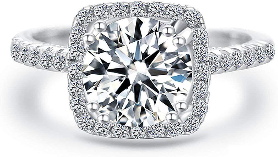 Women Wedding Ring 2 Carat Round Brilliant