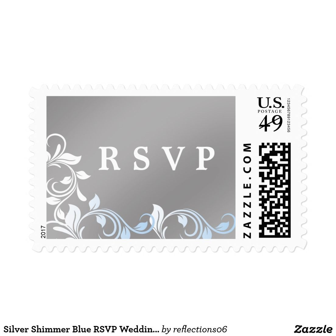 Silver Shimmer Blue RSVP Wedding Postage Pretty silvery shimmering custom wedding postage for your upcoming magical day.