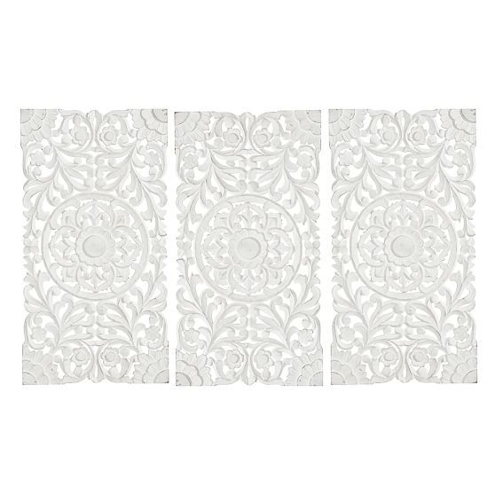 White Wood Wall Art Alluring Lennon & Maisy Ornate Wood Carved Wall Art Set Of 3  Pbteen Inspiration