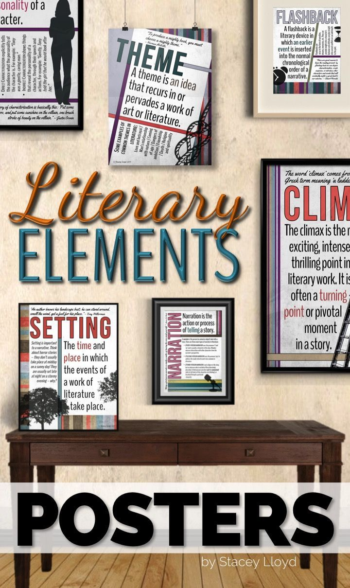 literary elements posters fiction reading strategies middle rh pinterest com