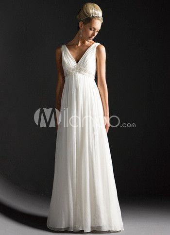 111 99 White Deep V Neck Empire Waist Satin Chiffon Wedding Dress ...