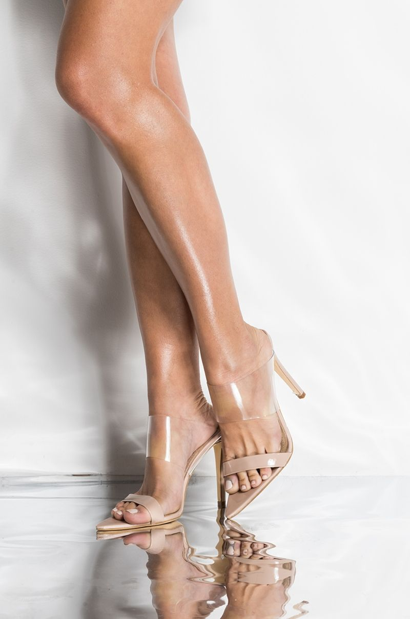 e2fd1bc6e37 Azalea Wang Patent Clear Foot Strap High Stiletto Heel Open Pointed Toe  Mule Sandals in Clear Nude
