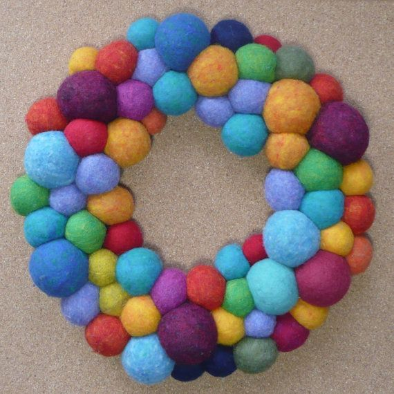 Holiday Wreath Felted Wool Ball Wreath by kittyjones on Etsy, $180.00