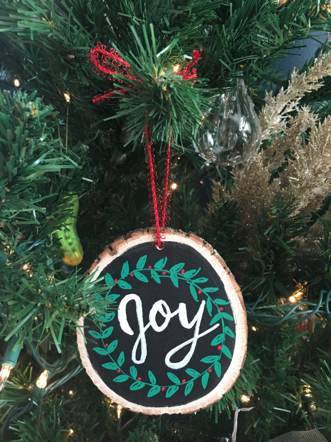 hand lettered christmas ornament by meagadams on etsy