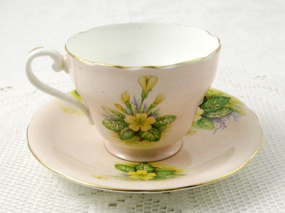 Aynsley Tea Cup and Saucer with Yellow Flowers Bone by TheAcreage