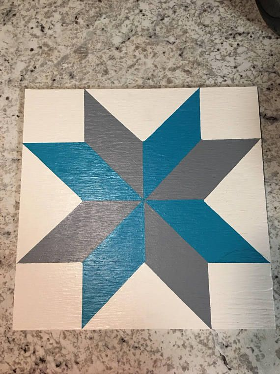 1x1 Painted Barn Quilt With White Turquoise And Grey Premium Paint