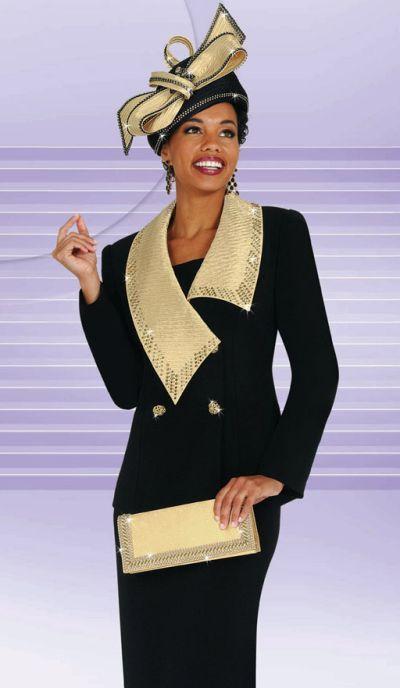 Black And Gold Ladies Dress Suit Benmarc International Suit 4448 At