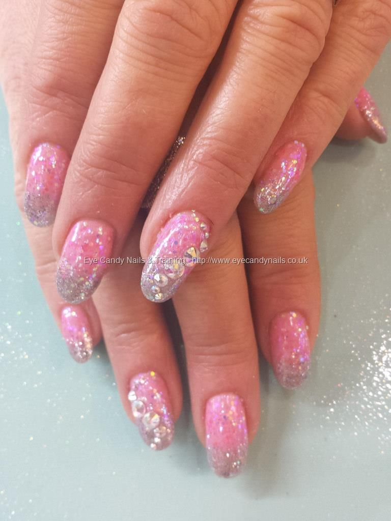 Nails-Pink and silver glitter fade with swarovski crystals | favs ...