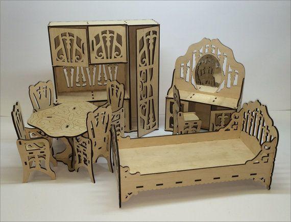 Monster High Barbie Bratz Doll wood furniture set by WeMakeIt4You - barbie wohnzimmer möbel