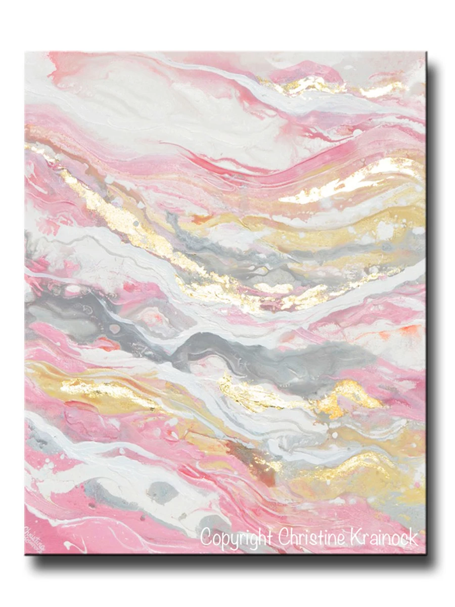 ORIGINAL Art Abstract Painting Pink White Grey Beige Gold Leaf Marbled Coastal Wall Art 30x24
