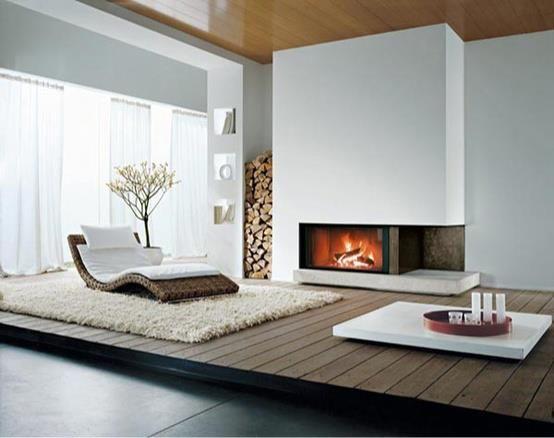 Modern Wohnzimmer Einrichten Mit Holzdecke Und Holzpodest Und Moderne Lounge Liege  Auf Weißem Teppich