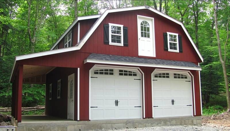 24 X 28 Raised Roof Gambrel Garage With 8 Overhang In New Milford Pa Garage De Maison Maison Plan Garage