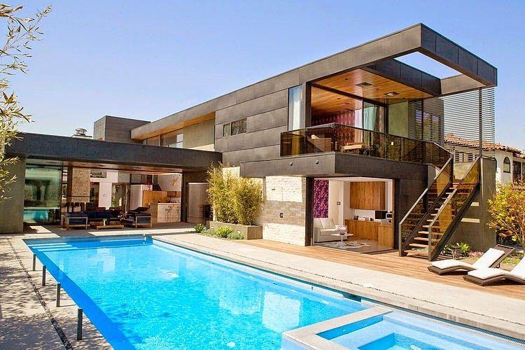 Dise o de interiores arquitectura moderna casa de dos for Diseno de casas con piscina interior