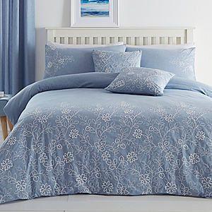 Chambray Garden Embroidered Duvet Cover & Standard Pillowcase Set #kaleidoscope #bedding