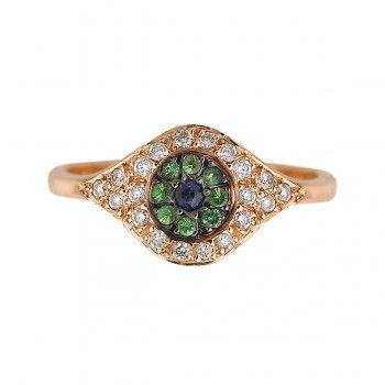 Diamond, sapphire, tsavorite & yellow-gold ring Ileana Makri