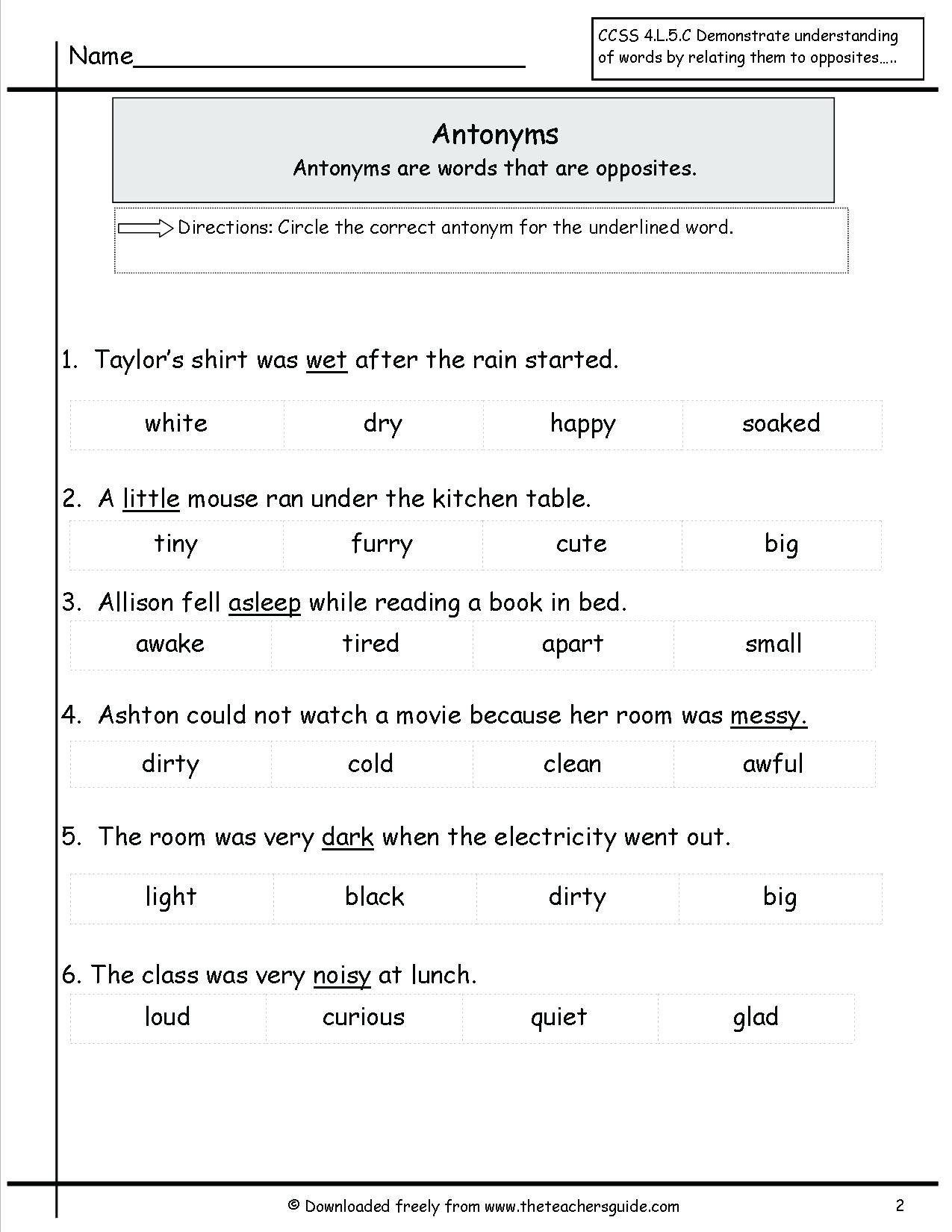Synonym Worksheet For 2nd Grade Opposites Worksheets For
