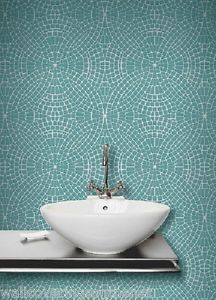 Teal Silver Mosaic Tile Effect Tiling On A Roll Bathroom Kitchen Wallpaper