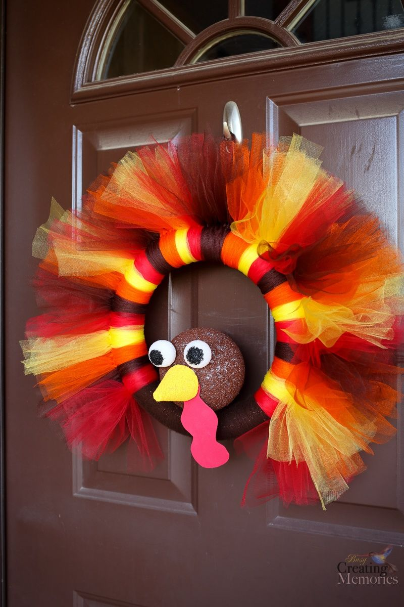 DIY Turkey Tulle Wreath Best Thanksgiving Wreath for your