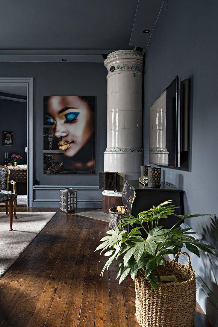 Изящный темный интерьер в Стокгольме (50 кв. м) | Пуфик - блог о дизайне интерьера