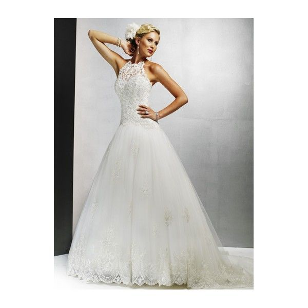 Illusion High Collar Halter Lace Overlay A Line Tulle Petite Wedding Dress