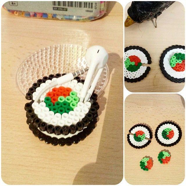 Sushi Roll Ear Bud Holder Perler Beads By Memycraftandi Diy