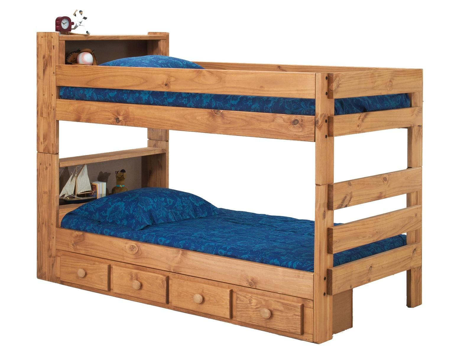 Loft bed with desk and trundle  Twin Over Twin Bookcase Bunk Bed with Storage Ginger StainFab Style