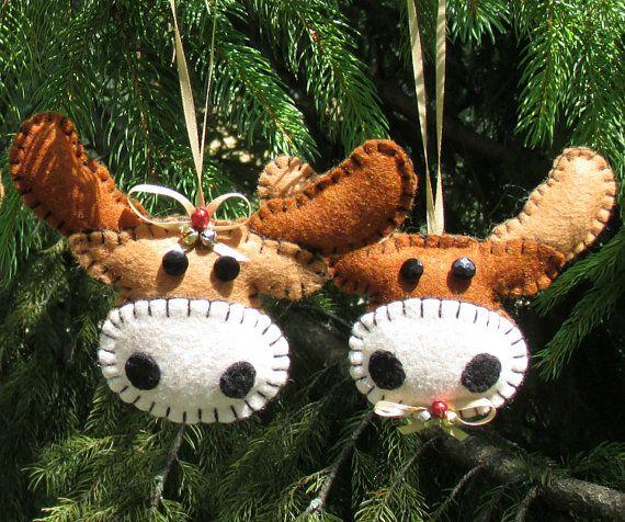 Wool Felt Moose Ornament Hangers Set of Two Wool felt, Moose and - moose christmas decorations