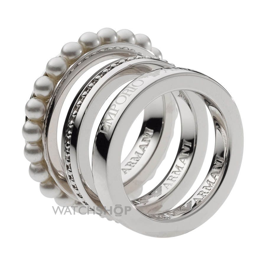 A Cly Set Of Las Armani Sterling Silver Ring Jewellery