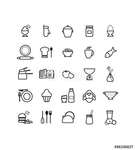 pictogrammes  pictos  icons  sur le th u00e8me de la nourriture