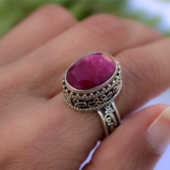 Photo of Ruby Ring, Ruby Engagement Ring, Red Ruby Gemstone Sterling Silver Ring, Dainty Ring, Ruby Jewelry,
