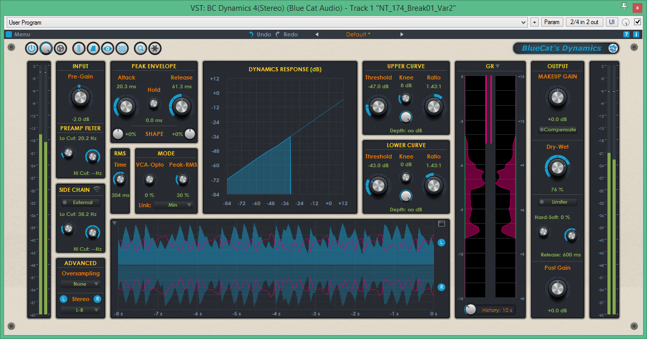 Skin for Blue Cat Audio's Dynamics 4 VST plugin. Blue