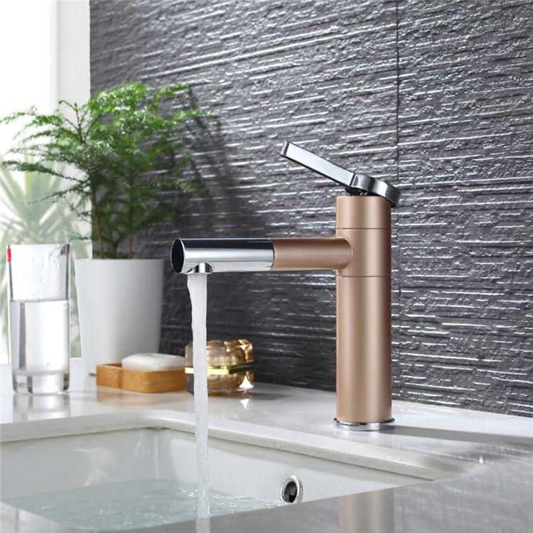 洗面蛇口 バス水栓 冷熱混合栓 立水栓 水道蛇口 シャンパー色 画像