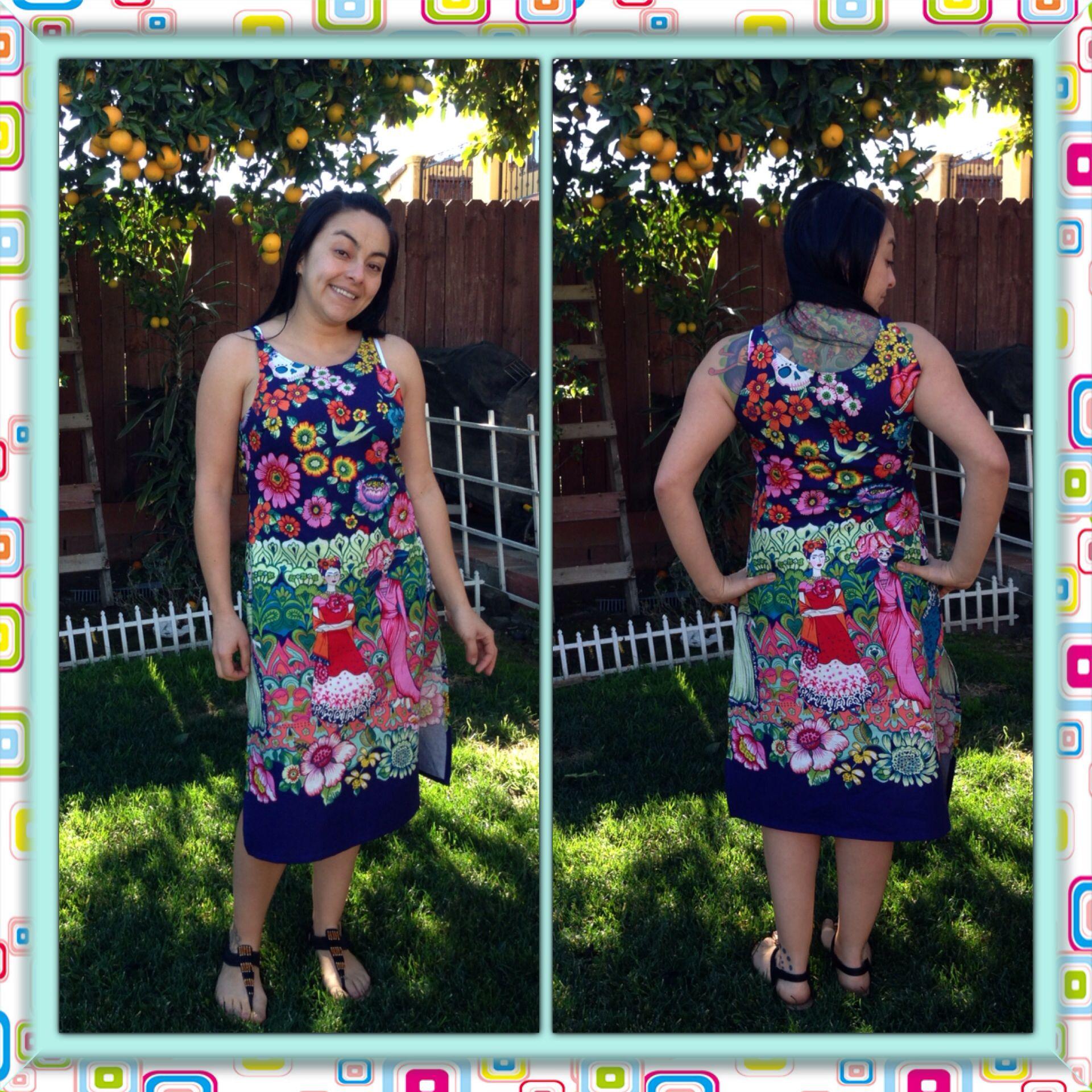 "Lina's dress. Alexander Henry fabrics collection. ""Frida la catrina"" by De León Design group. Lina is ready for México beaches!!"