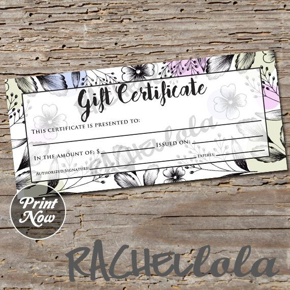 floral black blue and purple printable gift certificate template