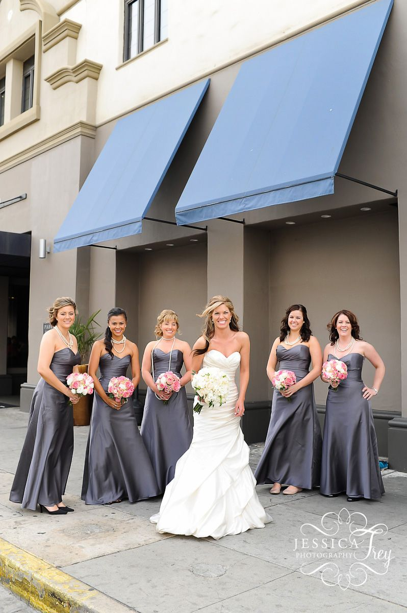 Bridesmaid Dresses With Pink Flowers