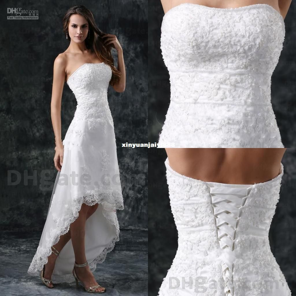 Wedding Gown Wholesalers: 2014 Wedding Dresses Lace A Line Hi Low