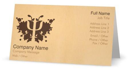 Bold Tan Folded Business Cards Psychologist Folded Business Cards