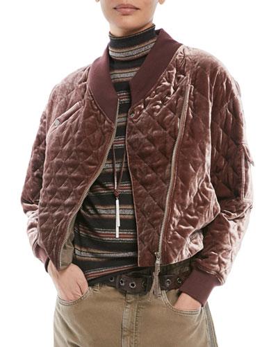 Brunello Cucinelli Quilted Velvet Asymmetrical Zip Jacket Brunello Cucinelli Jackets Jackets For Women