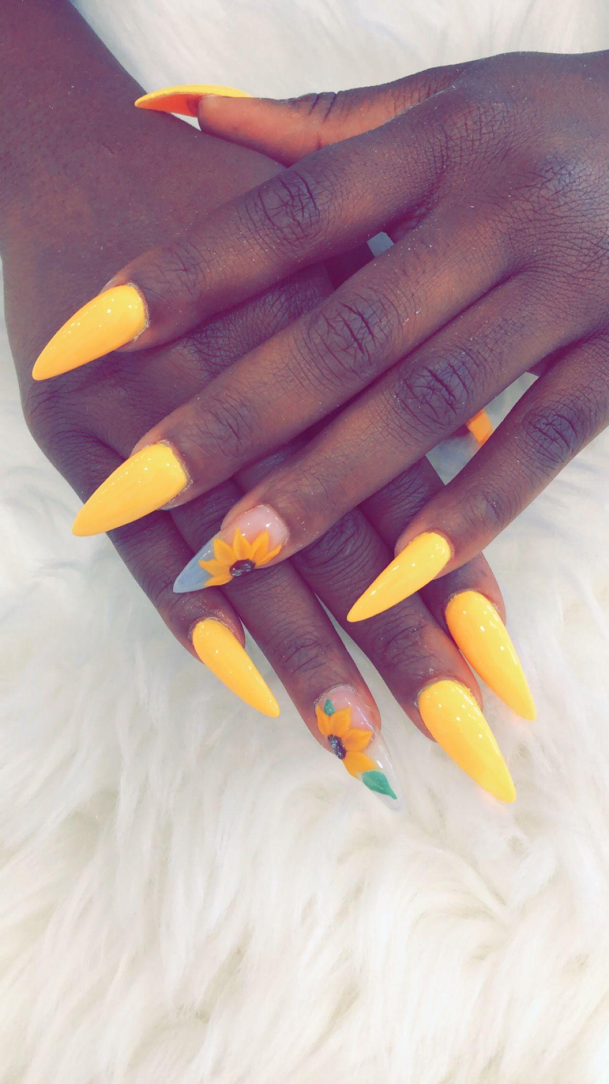 Sunflower | Solar nails, Acrylic flowers, Stiletto nails