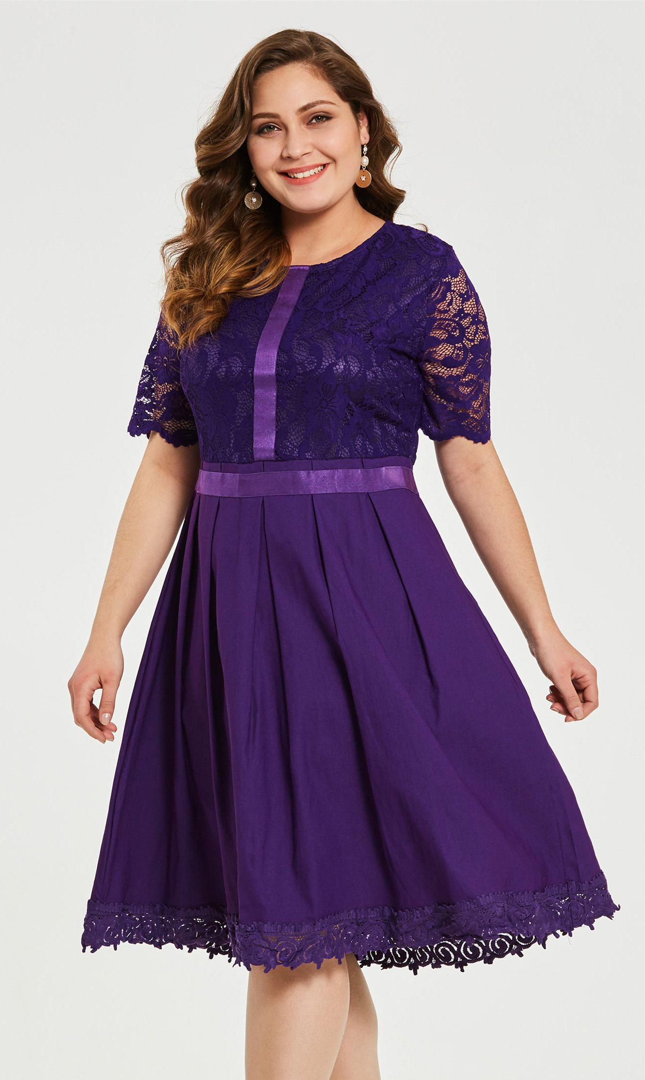 Dark Purple Plus Size Short Sleeve Women S Day Dress With Images Ladies Day Dresses Dresses Plus Size Fashionista